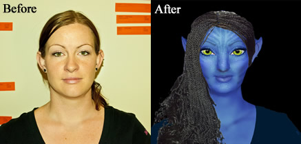 Before and after photo of finished Avatar